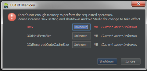 Android studio memory problem